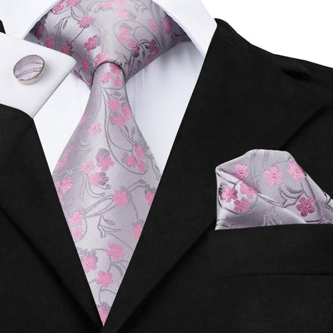 Floral Gray Pink Tie Set