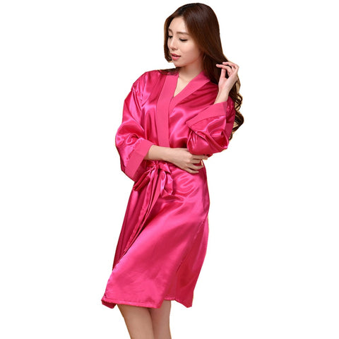 Hot Pink Faux Silk Robe