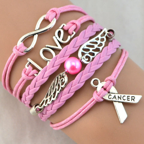 Braided Breast Cancer Bracelet in Bubblegum (color, don't eat it)