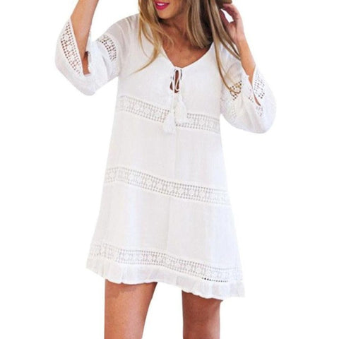 White Dress with Sleeves and Knit Detail