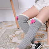 Precious Leg Warmers with Lace Details and Pink Bow