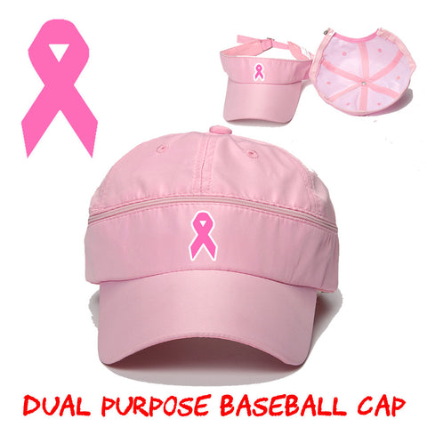 Pink Baseball Cap and Visor for Cancer Awareness