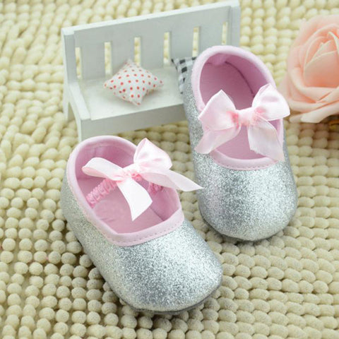 Silver Baby Shoes with Pink Bow 🎀