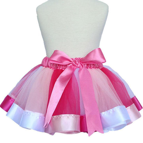 Girls' Pink Rainbow Bowknot Tutu