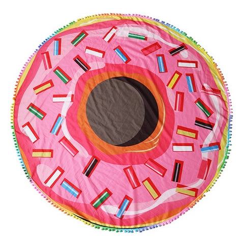 Pink Donut Beach Towel