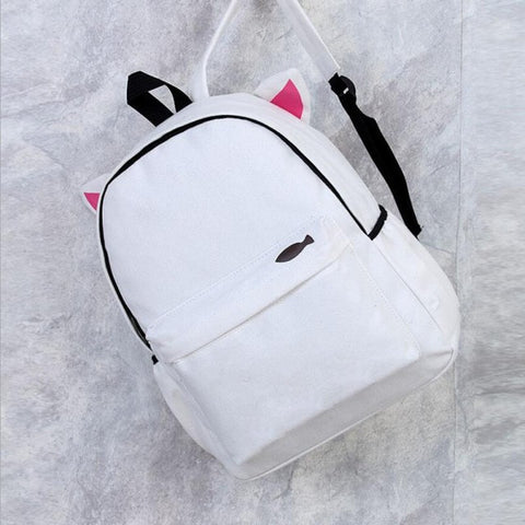 White Back Pack with Cat Ears! 😺