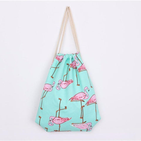 Turquoise Drawstring Bag with Flamingos
