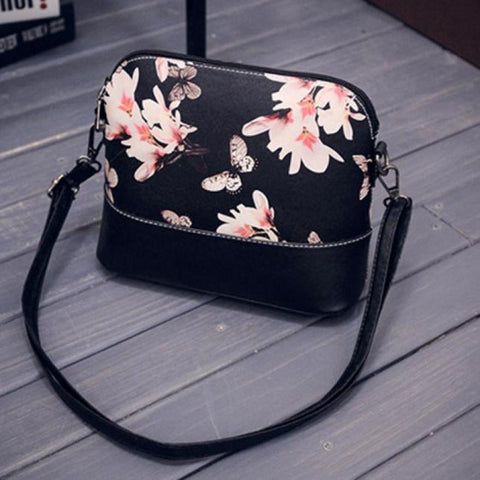 Black Floral Messenger Bag