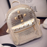 Shiny Silver Leather Backpack