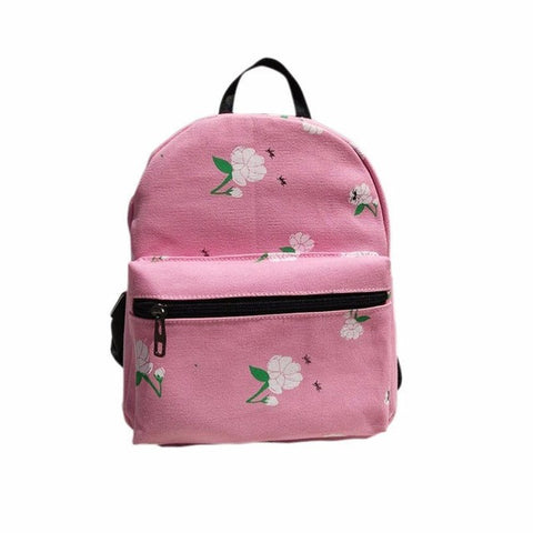 Pink Back Pack with White Floral Detail