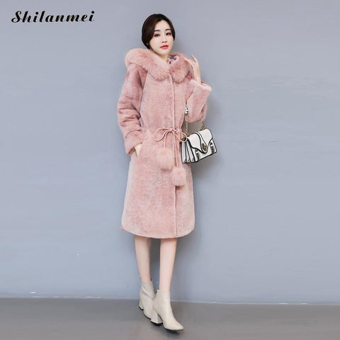 Faux Fur Coat in Pink