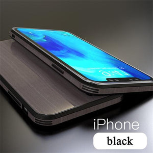 1087-Wood Grain Tempered Glass Case For iPhone