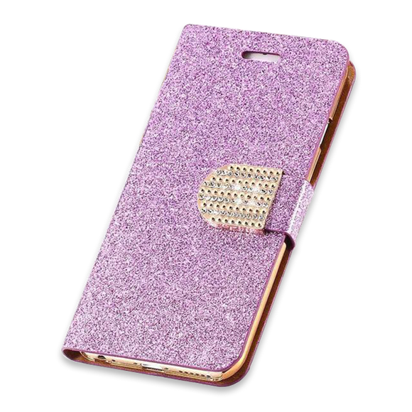 266-Bling Crystal Diamond Leather Wallet Case For iPhone