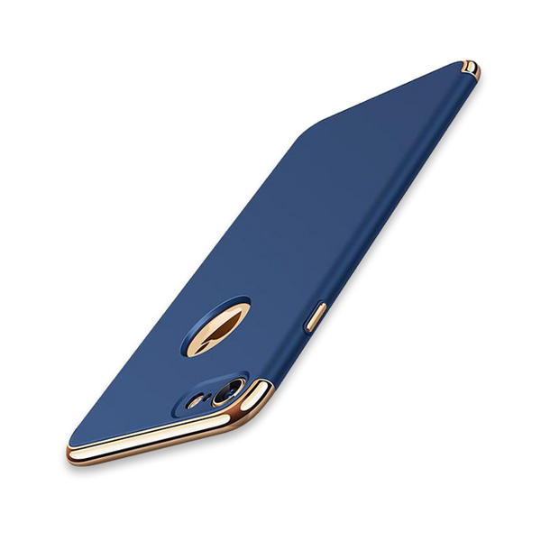Luxury Hard Frosted PC Shockproof Metal Texture Case For iPhone-blue