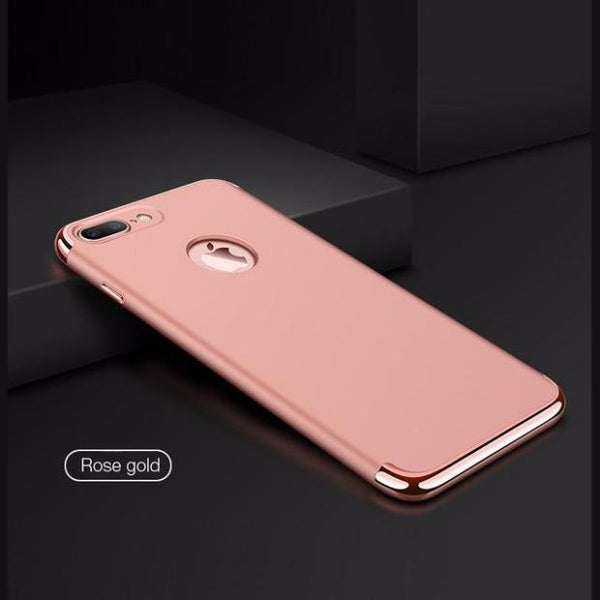 380-Luxury Hard Frosted PC Shockproof Metal Texture Case For iPhone