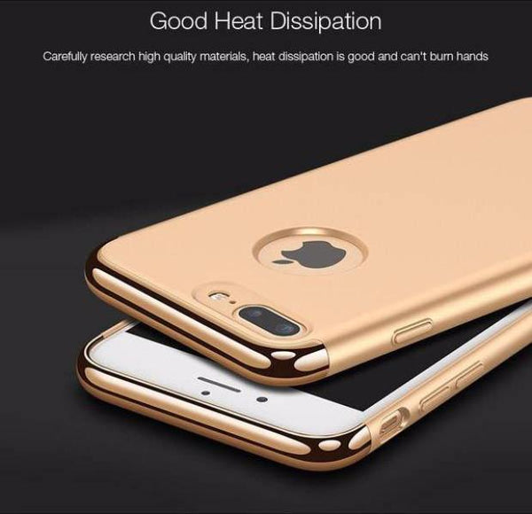 Luxury Hard Frosted PC Shockproof Metal Texture Case For iPhone