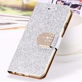 Bling Crystal Diamond Leather Wallet Case For iPhone-silver