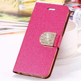 Bling Crystal Diamond Leather Wallet Case For iPhone-hot pink
