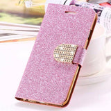 Bling Crystal Diamond Leather Wallet Case For iPhone-pink
