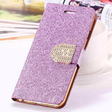 Bling Crystal Diamond Leather Wallet Case For iPhone-purple