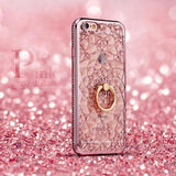 Luxury Soft Gel Diamond Ring Phone Case For iPhone
