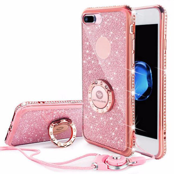 240-Luxury Diamond Case For IPhone 7/7+ With Rhinestones Bling Coverpink