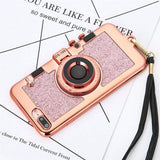 Luxury 3D Retro Camera Case For iPhone-pink