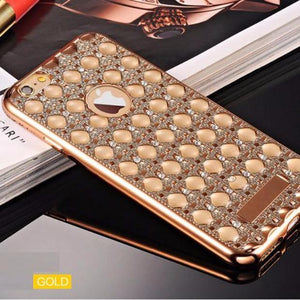 Fashion Gold Bling Glitter Plating Diamond Phone Cases For iPhone-silver