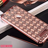 Fashion Gold Bling Glitter Plating Diamond Phone Cases For iPhone-rose gold