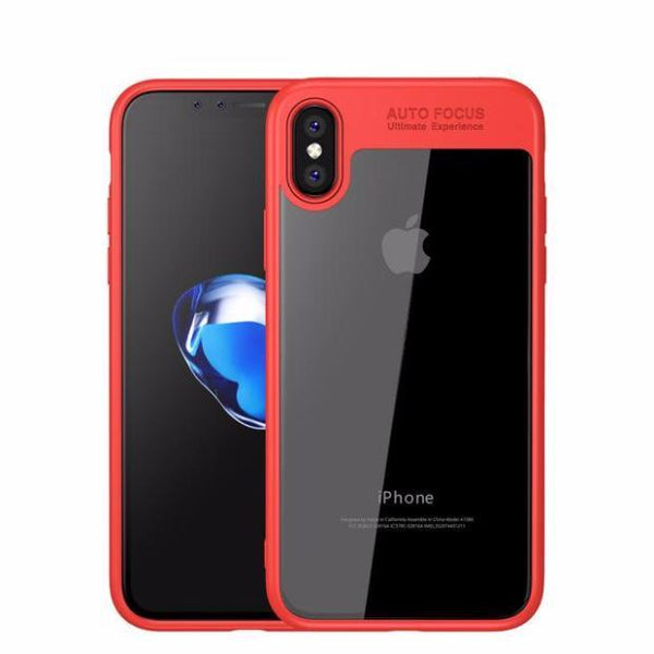 Toraise Acrylic Shockproof Transparent Cover Case For iPhone 8-Red