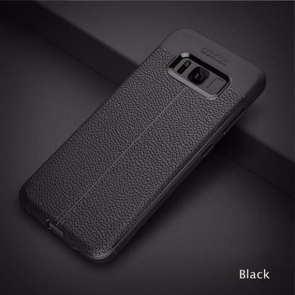 Luxury Leather Veins Soft TPU Back Cover Case For Samsung-black