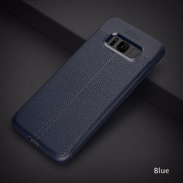 Luxury Leather Veins Soft TPU Back Cover Case For Samsung-blue