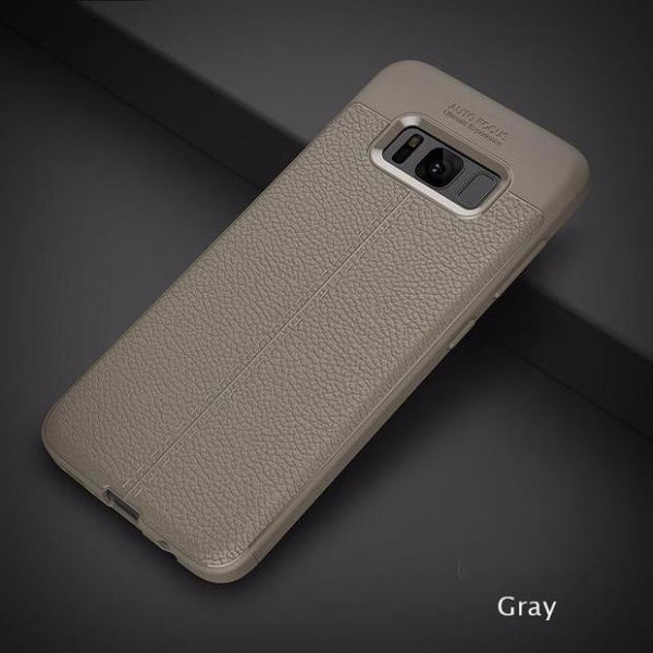 Luxury Leather Veins Soft TPU Back Cover Case For Samsung-gray