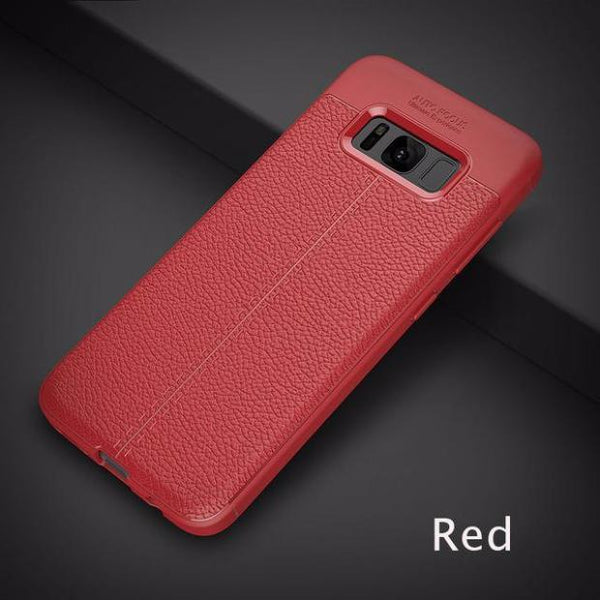 Luxury Leather Veins Soft TPU Back Cover Case For Samsung-red