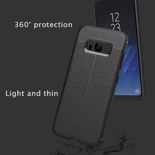 Luxury Leather Veins Soft TPU Back Cover Case For Samsung