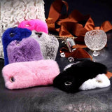 484-Luxury Rabbit Plush Fur Case For iPhone