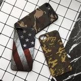485-Retro Camouflage American Flag Luminous Case For iPhone