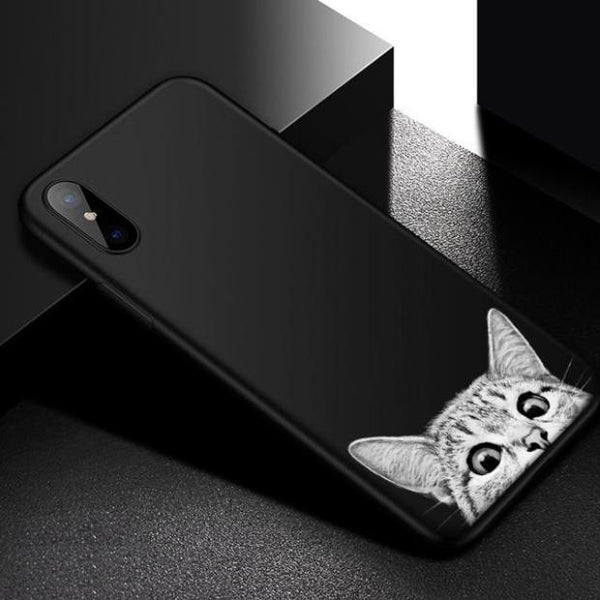 685-Animal Space Moon Case For iPhone X