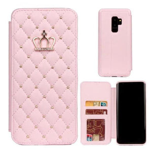870-Diamond Bling Flip Leather Wallet Case For S9/S9+