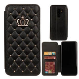 871-Diamond Bling Flip Leather Wallet Case For S9/S9+