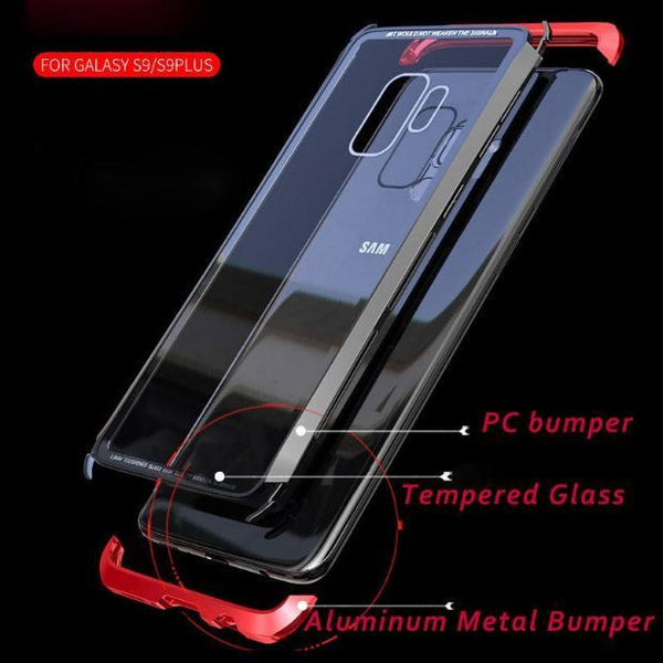 882-Transparent Clear Aluminum Metal Glass Covers For Samsung S9/S9 Plus