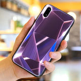 1088-Luxury 3D Diamond Mirror Tempered Glass Case For iPhone