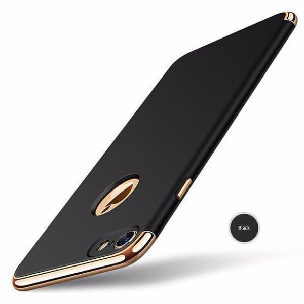 Luxury Hard Frosted PC Shockproof Metal Texture Case For iPhone-black
