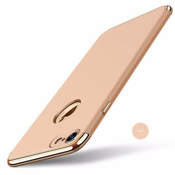Luxury Hard Frosted PC Shockproof Metal Texture Case For iPhone-gold