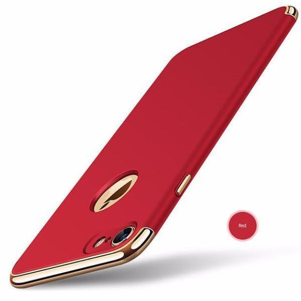 Luxury Hard Frosted PC Shockproof Metal Texture Case For iPhone-red