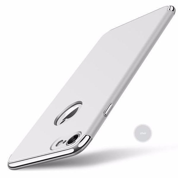 Luxury Hard Frosted PC Shockproof Metal Texture Case For iPhone-silver