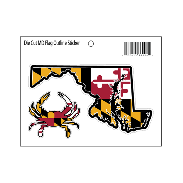 Maryland Flag State Outline Decal - Maryland O Mine