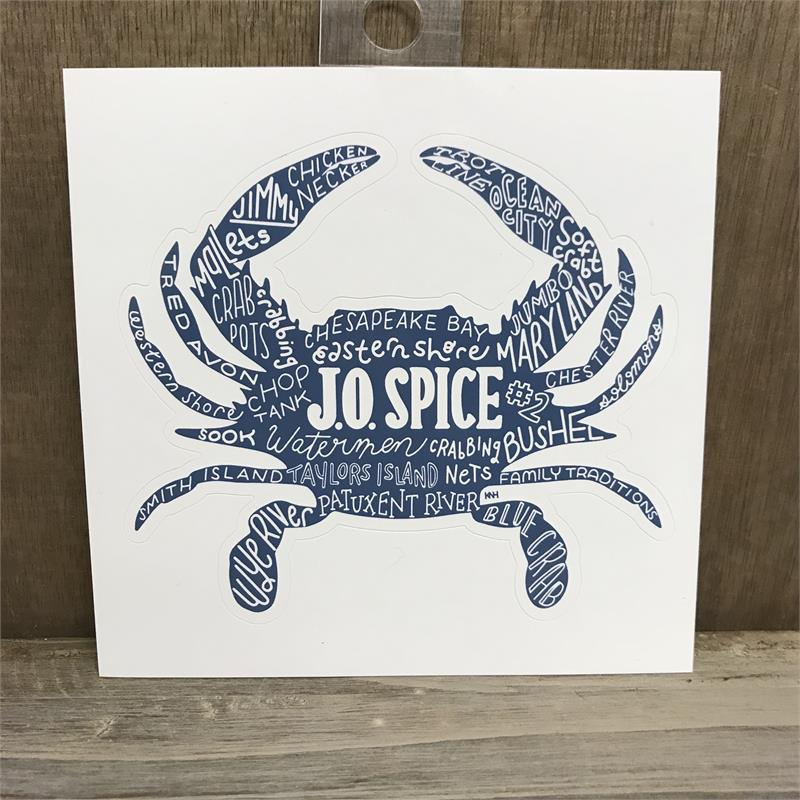 JO Spice Crabby Words Decal Sticker - Maryland O Mine