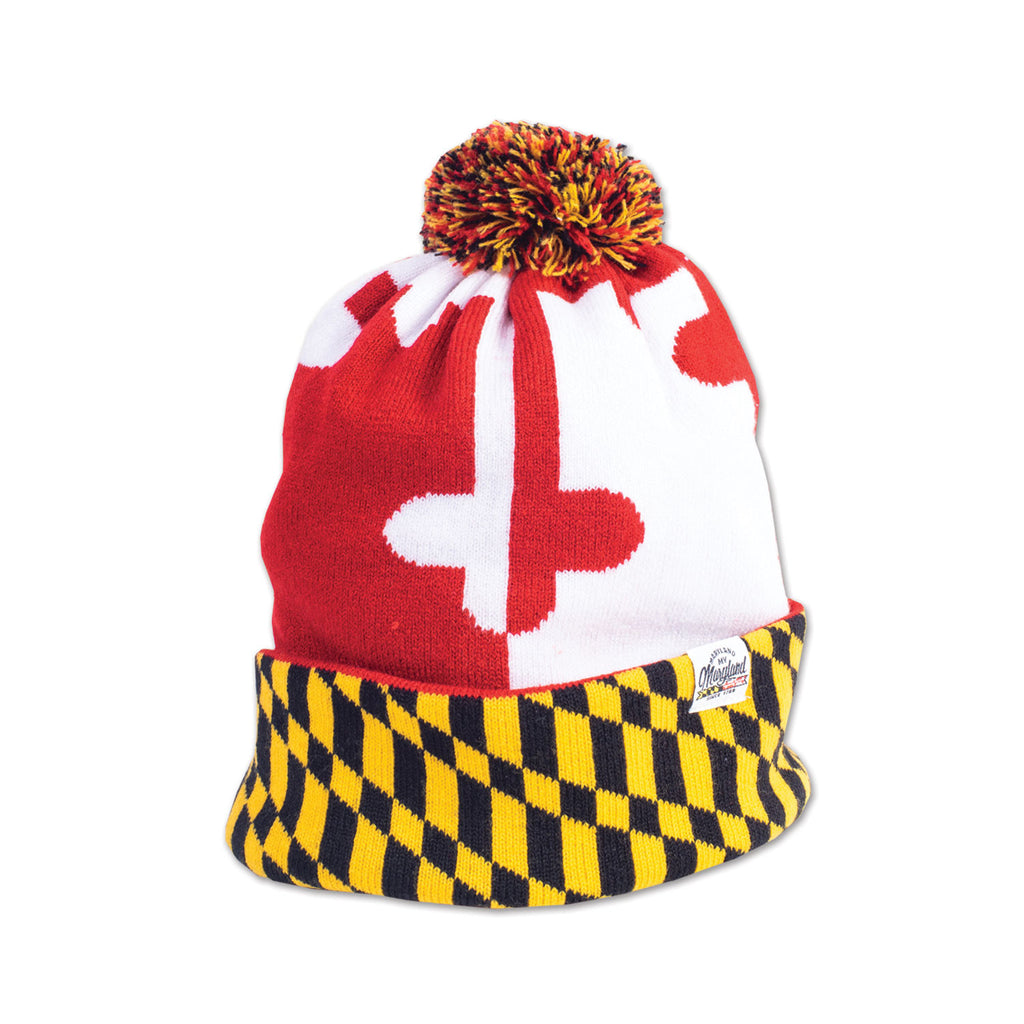 Maryland Checkered Flag Pom Beanie - Maryland O Mine
