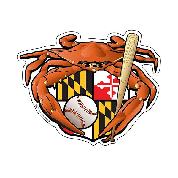 Maryland Crest Baseball Crab Decal - Maryland O Mine